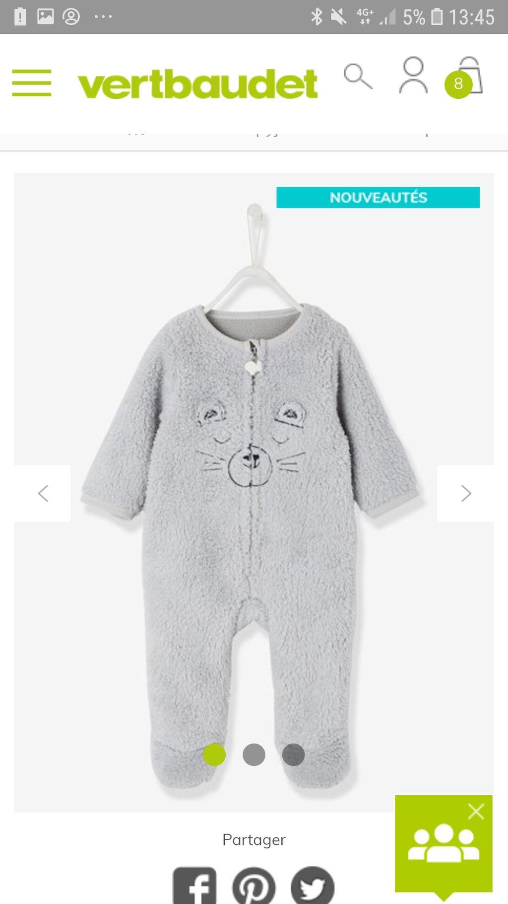 7c185d7b06161 Surpyjama bébé toucher peluche gris chiné - Vertbaudet